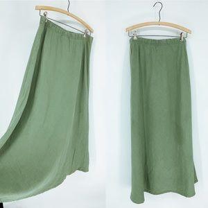 VINTAGE maxi flax linen skirt pull-on